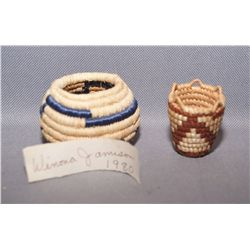 TWO MINIATURE BASKETS