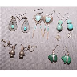 5 PAIRS OF PUEBLO EARRINGS