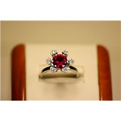 Lady's Fancy 14kt White Gold Ruby Red Spinel &amp; Diamond Ring