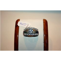 Lady's Fancy 14 kt White Gold Aqua Marine &amp; Diamond Ring