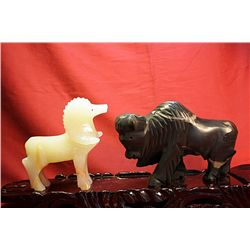 Original Hand Carved Marble  Buffalo & Goat  by G. Huerta