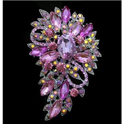 Unique Multicolor Swarovski Crystalv Floral Brooch / Pe
