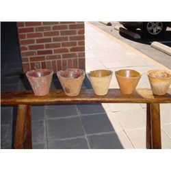 Set of 5 antique resin pots from South France