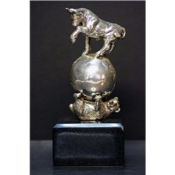 Large Pure Real .999 Silver  Bear and the Bull Sculpture by Delair