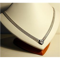 Ladies 14k White Gold Heart Necklace