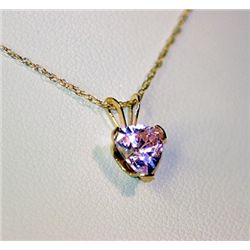 Lady's Fancy 14 kt Yellow Gold  Heart Shape  Pink Sapphire Necklace