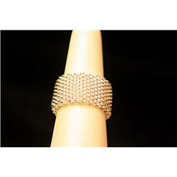 Lady's Fancy Sterling Silver  Mesh  Design Tiffany Ring