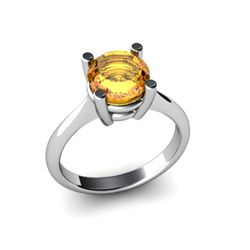 Citrine 1.80ctw Ring 14kt White Gold
