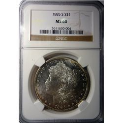 1885-S MORGAN DOLLAR NGC MS60 LOOKS PL