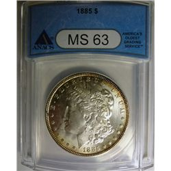1885 MORGAN DOLLAR ANACS MS63