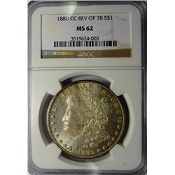 1880-CC MORGAN SILVER DOLLAR REV. OF 78 NGC MS62