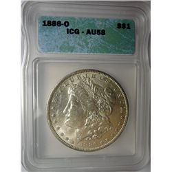 1886-O MORGAN DOLLAR ICG AU58 COIN LOOKS CH BU TO US!