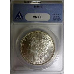 1888 MORGAN DOLLAR ANACS MS63