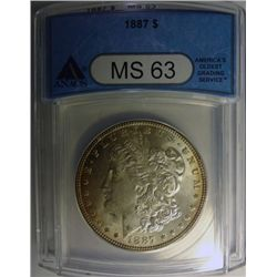1887 MORGAN DOLLAR ANACS MS63