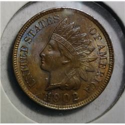 1902 AND 1905 INDIAN HEAD CENTS, BOTH  GEM BU