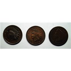 INDIAN ONE CENT LOT: 11885 GOOD, 1885 XF+, 1905 CH BU R+B