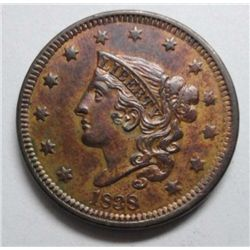 1838 Large Cent Ch Brown Unc 60+ Well struck attractive