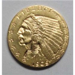1909 $ 2 1/2 Gold, Ch Bu 63+, well struck & quite attractive, scarce early date