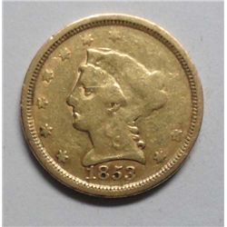 1853 $2 1/2 Gold VF, unevenly struck, but no damage