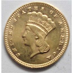 1876 $1 Gold Type 3, Ch Bu 63, Frosty & well struck