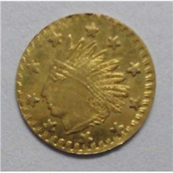 1853 California Gold Token Indian/Charm 22K ChBU Frosty