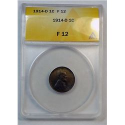 1914-D LINCOLN ONE CENT ANACS FINE 12