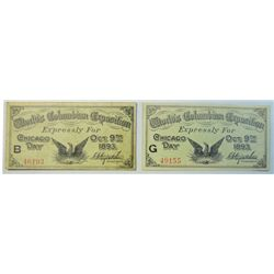 2 1892 Columbian Expo tickets