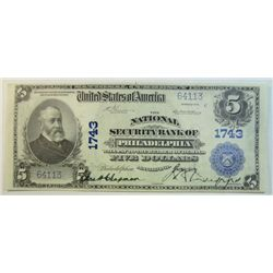 1902  $5 National currency National Security Bank of PHIL.  CU63/64