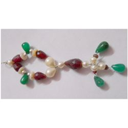 Natural 59.00ct Emerald/Ruby/Pearl Pendant .925 Sterlin