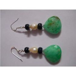 65.0 ctw Emerald and Pearl Earring .925 Sterling Silver