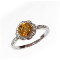 Natural 1.37 ct 3.38g Citrine & Diamond 14k WG Ring