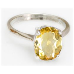 Natural 3.5 ctw Citrine Oval .925 Sterling Silver Ring