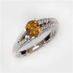 Natural 1.49 ct 4.41g Citrine & Diamond 14k WG Ring