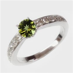 Natural 1.48 ct 3.51g Peridot & Diamond 14k WG Ring