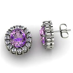 Genuine 3.04 ctw Amethyst Diamond Earring 14k W/Y Gold