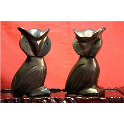 Original Hand Carved Marble  Owls  by G. Huerta