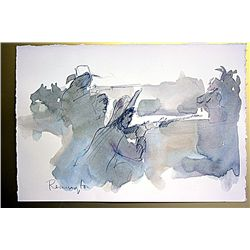 Frederic Remington Original Watercolor on Paper -The Stand Off