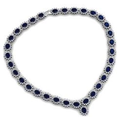 Sapphire 58.80 ctw Diamond Necklace 14kt White Gold