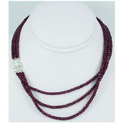 226.05ct 3 Row Natural Ruby Faceted Necklace