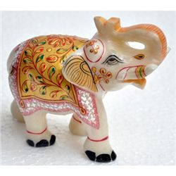 Marble UpTrunk Elephant w/ Gold Plated Design 4in.x5in.