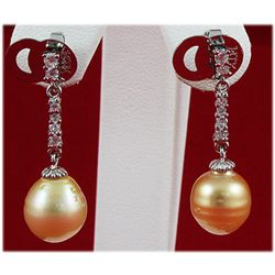 10-11MM Dangling South Sea Pearl & Crystal Earring