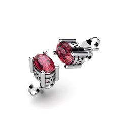 Garnet 1.10ctw Earring 14kt White Gold