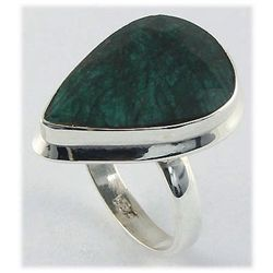 35.94ct Natural Pear Emerald Sterling Silver Ring