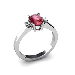 Garnet 0.55 ctw Diamond Ring 14kt White Gold