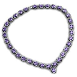 Tanzanite 52.20 ctw Diamond Necklace 14kt White Gold