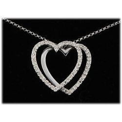 "Genuine 0.58ctw Diamond Necklace 14kt W/G 15"" Chain"