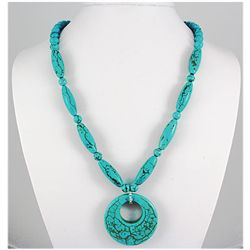 Natural 376.70ctw Turquoise Sterling Silver Necklace