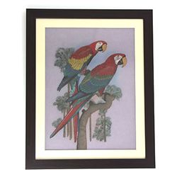 "24 1/2"" x 30 1/2 "" Colorful Parrots in a Tree Gemstone"