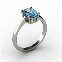 Aqua Marine 1.10 ctw Ring 14kt White Gold