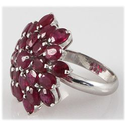 Ruby 15.00 ctw Flower Design Ring 0.925 Silver